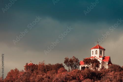 Fotobehang Historisch geb. Little church on hill, Macedonia