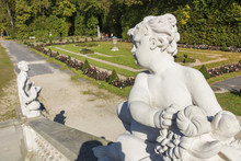 Beautiful Palace Wilanow In Warsaw. Capital Of Poland. Sculptures In Garden.