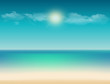 tropical illustration with ocean view, sandy beach, sky and copy space