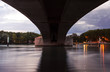 Wide angle view below a bridge in Avignon, France