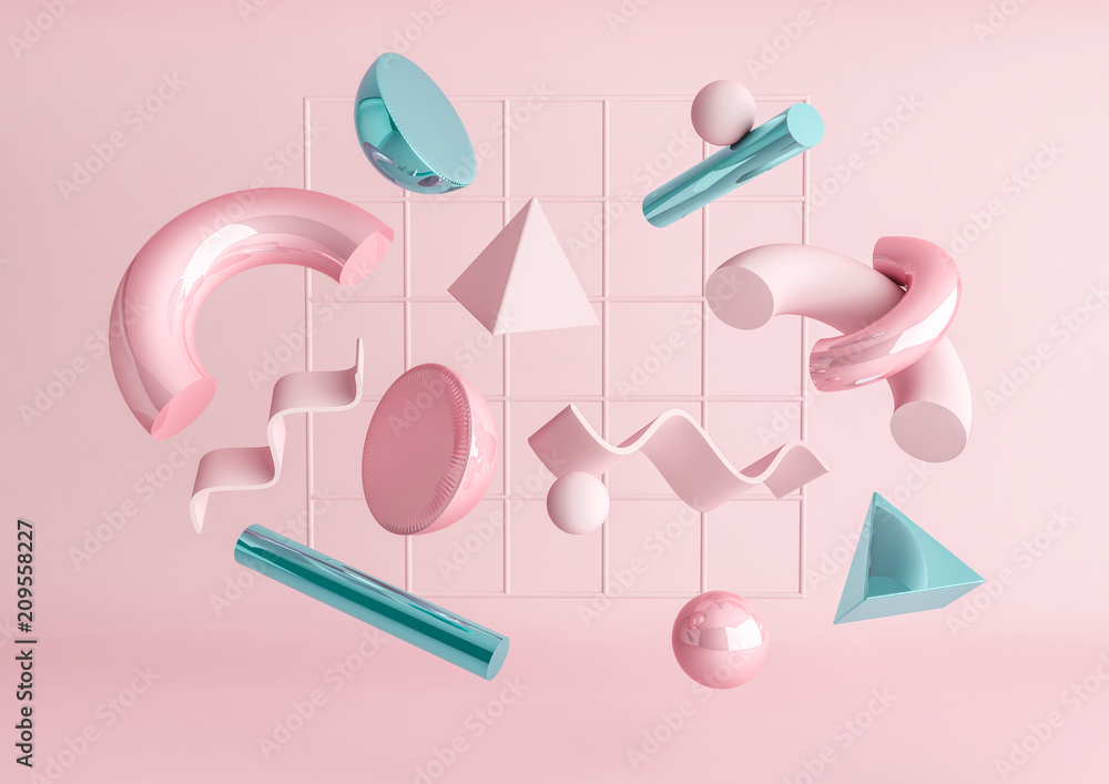 Fototapety, obrazy: 3d render realistic primitives composition. Flying shapes in motion isolated on pink background. Abstract theme for trendy designs. Spheres, torus, tubes, cones in metallic blue and pink colors.