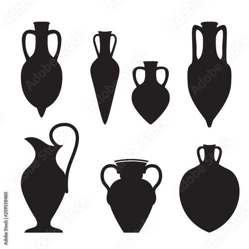 Photo Set or different shape amphoras
