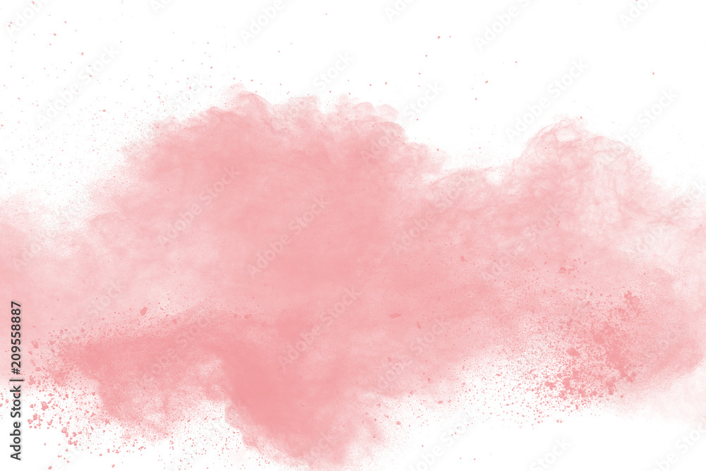 Fototapeta abstract pink powder explosion on white background. Freeze motion of pink dust splattered.