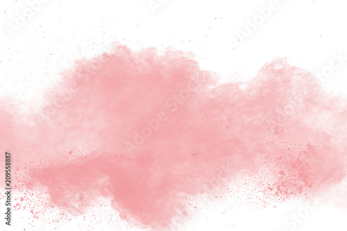 abstract pink powder explosion on white background. Freeze motion of pink dust splattered. - fototapety na wymiar