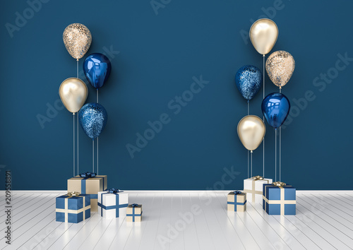 Fototapeta 3D interior illustration with dark blue golden sequins balloons and gift boxes