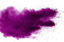 Abstract Violet Powder Explosion On White Background, Freeze Motion Of  Violet Dust Splashing.