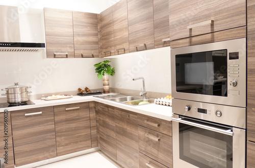 Fotografie, Obraz  Gourmet new kitchen features . Modern kitchen interior .