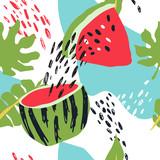 Minimalne lato modny wektor płytki bezszwowe wzór w stylu skandynawskim. Arbuz, liście palmowe, elementy abstrakcyjne. Projekt graficzny strojów kąpielowych z tkaniny tekstylnej do pring. - 209561647