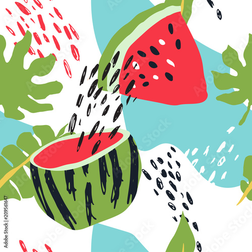 Cotton fabric Minimal summer trendy vector tile seamless pattern in scandinavian style. Watermelon, palm leafs, abstract elements. Textile fabric swimwear graphic design for pring.