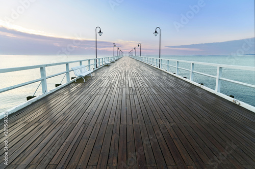 Wooden pier at sea shore, morning view, Gdynia Orlowo poland