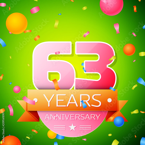 Fotografie, Tablou  Realistic Sixty three Years Anniversary Celebration Design