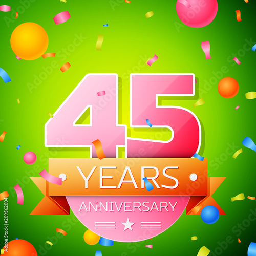 Photographie  Realistic Forty five Years Anniversary Celebration Design