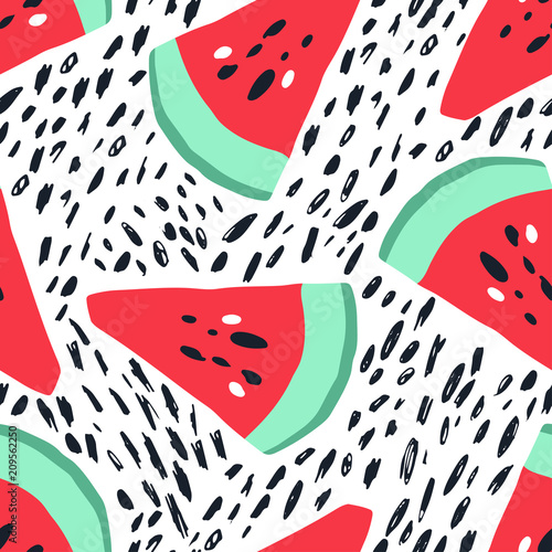 Cotton fabric Minimal summer trendy vector tile seamless pattern in scandinavian style. Watermelon and abstract elements. Textile fabric swimwear graphic design for print isolated on white.