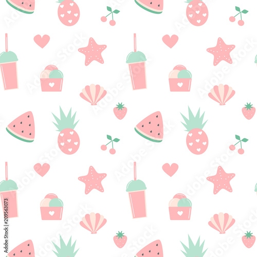 Background Of Cute Ice Cream With Phrase Vector: Cute Summer Seamless Vector Pattern Background