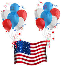American Flag With Balloons