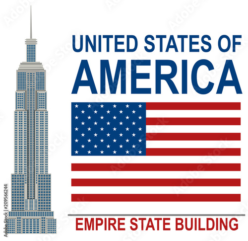 Obraz na plátně American Empire State Building illustration