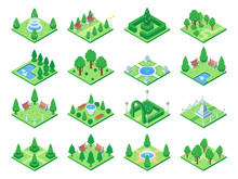 Isometric Green Park Or Garden Trees. Fountain And Bushes, Benches And Pond. 3d Isometric City Map Vector Elements
