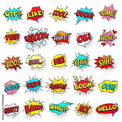 Bang, ouch shouts and yeah shouting text bubble with halftone pattern shadow. Pop art retro style shout speech bubbles vector set