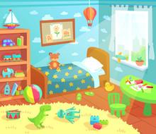 Cartoon Kids Bedroom Interior....