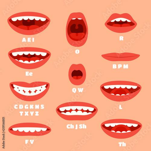 Expressive cartoon articulation mouth, lips Canvas Print
