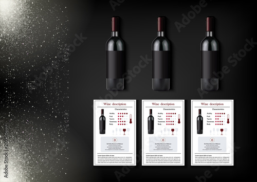 Fotografija A simple design of realistic bottles of wine and wine cards with descriptions and characteristics of the wine on a black background with sparkling sparkles