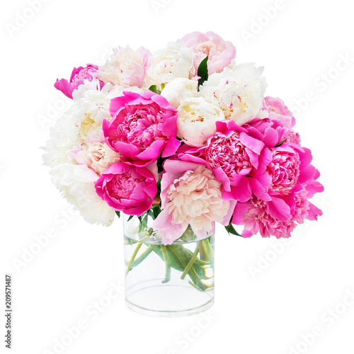 Beautiful peony bouquet isolated over white background