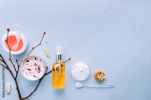 Poster Spa Organic bio cosmetics with herbal ingredients .Natural extract of amber, gold. Oils serum .handmade