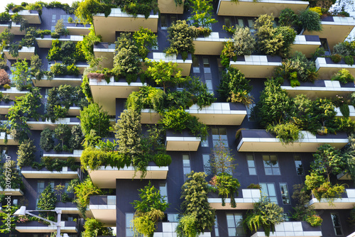 obraz PCV skyscraper vertical forest in Milan