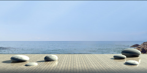 Fototapeta na wymiar Beach Luxury Stone and modern on Sea / 3d render