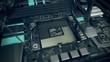 Empty CPU socket or slot in the motherboard of desktop or server computer.