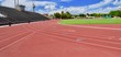 canvas print picture - Red track at stadium