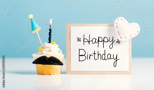 Birthday message with a cupcake with a moustache Canvas Print