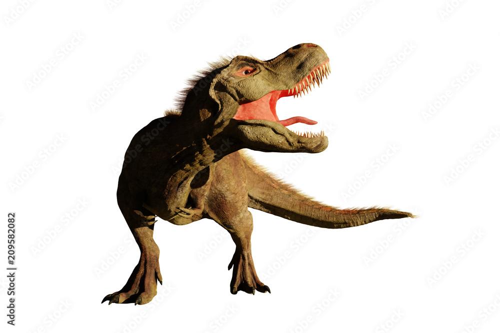 Photo Art Print Tyrannosaurus Rex Roaring T Dinosaur 3d Rendering Isolated On White Backg