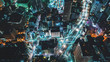 canvas print picture - Aerial view of the Tokyo cityscape at night