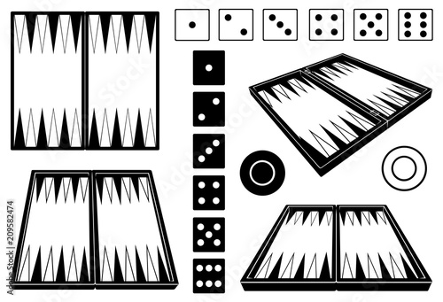 Fotografia, Obraz Set of different backgammon boards isolated on white