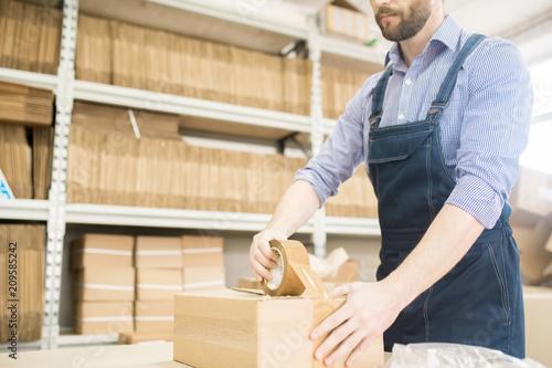 Cuadros en Lienzo Bearded worker wearing denim jumpsuit using adhesive tape while packing producti