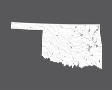 U.S. States - Map Of Oklahoma. Please Look At My Other Images Of Cartographic Series - They Are All Very Detailed And Carefully Drawn By Hand WITH RIVERS AND LAKES.