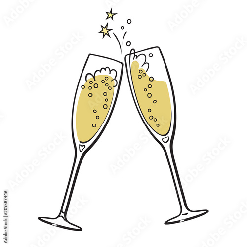 Canvas Print Two glasses of champagne