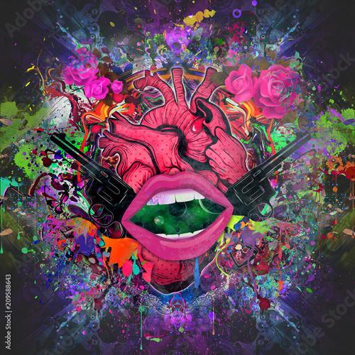 абстрактные магические розовые губы на абстрактном фоне