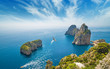 canvas print picture - Famous Faraglioni rocks, Capri island, Italy