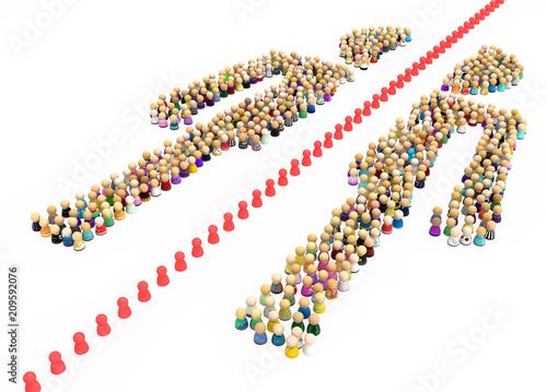 Valokuvatapetti Cartoon Crowd Figure, Half Split