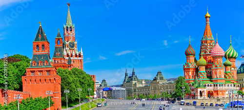 Recess Fitting Asian Famous Place View of Kremlin and Red Square in summer in Moscow, Russia.