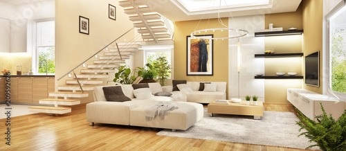 Fotografija  Moderne Küche und Wohnzimmer
