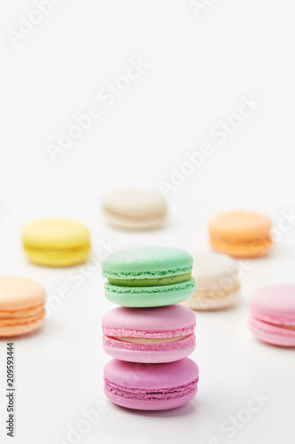 Staande foto Macarons Macarons. Colorful French Macaroons Close Up