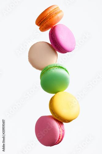 Poster Macarons Macaron Sweets. Colorful Macaroons Flying