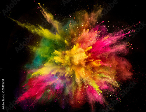 Fotobehang Hoogte schaal Colored powder explosion on black background.