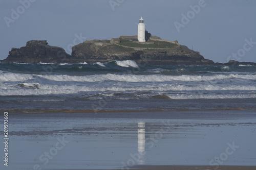 Foto op Aluminium Vuurtoren Lighthouse in St Ives Bay Cornwall