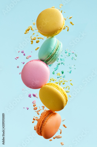Macaron Dessert. Colorful Macaroons Flying Fototapeta