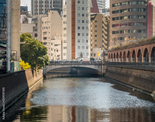 View down the Kanda river towards a bridge and high rise buildings near Akihabara Tokyo Japan Wallpaper Mural