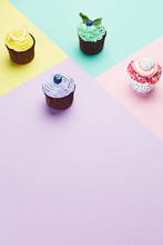 Cake. Colorful Cupcakes Close Up